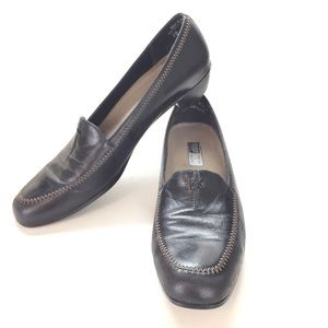 Munro American Black Leather Loafers Shoes Sz 10SS
